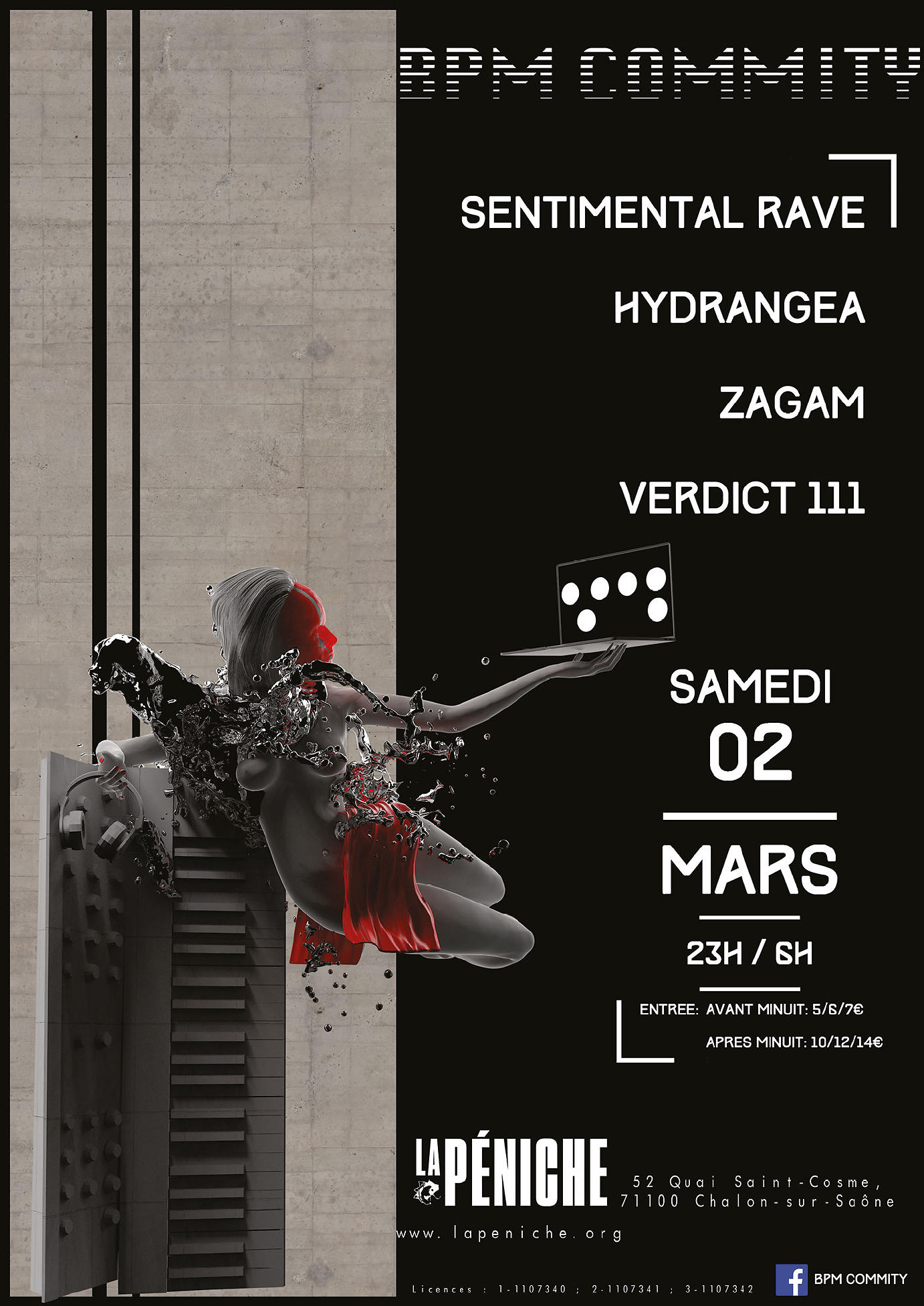 affiche BPM Commity invite : Sentimental Rave + Hydrangea + Zagam + Verdict 111