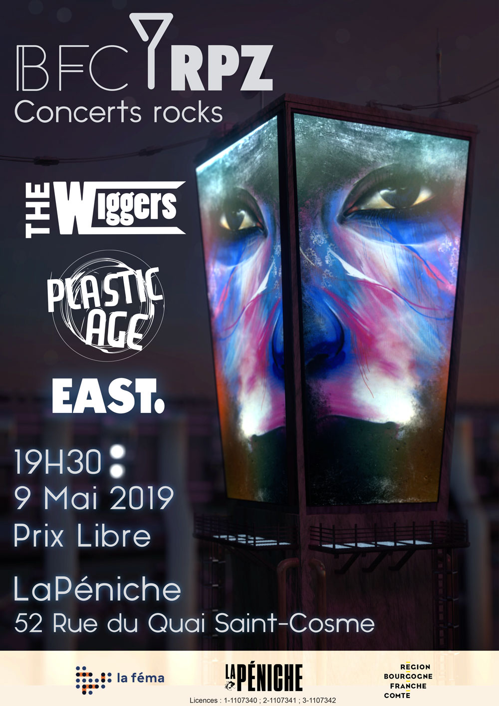affiche BFC RPZ : The Wiggers + Plastic Age + East.